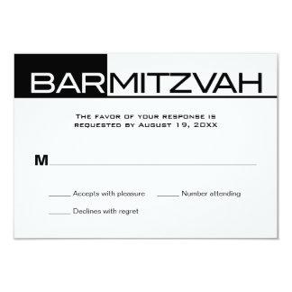 "Black and White Block Bar Mitzvah Reply RSVP 3.5"" X 5"" Invitation Card"