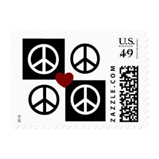 Black and white blocks and reverse peace symbols postage