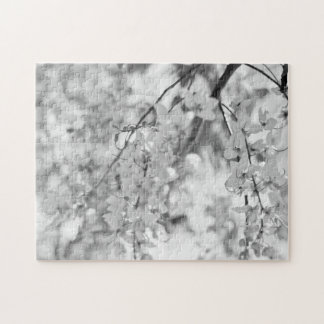 Black and White Blossom Branch Jigsaw Puzzle