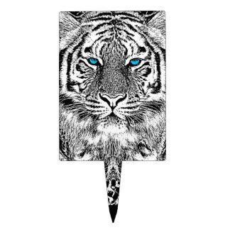 Black And White Blue Eyes Tiger design Cake Topper