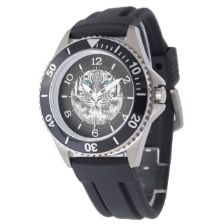 Black And White Blue Eyes Tiger design Dial Wristwatch