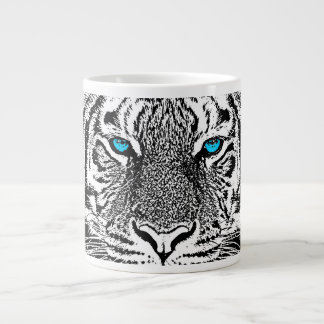 Black And White Blue Eyes Tiger design Large Coffee Mug