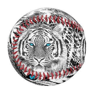 Black And White Blue Eyes Tiger Graphic Baseball