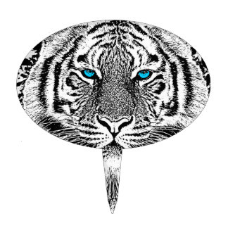 Black And White Blue Eyes Tiger Graphic Cake Topper