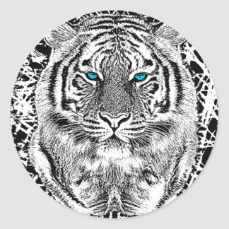 Black And White Blue Eyes Tiger Graphic Classic Round Sticker