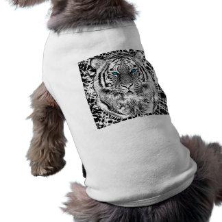 Black And White Blue Eyes Tiger Graphic Doggie Tshirt