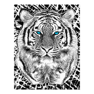 Black And White Blue Eyes Tiger Graphic Flyer