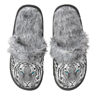Black And White Blue Eyes Tiger Graphic Pair Of Fuzzy Slippers