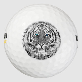 Black And White Blue Eyes Tiger Graphic Pack Of Golf Balls