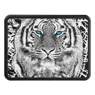 Black And White Blue Eyes Tiger Graphic Hitch Cover