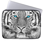 Black And White Blue Eyes Tiger Graphic Laptop Computer Sleeve
