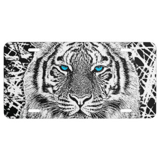 Black And White Blue Eyes Tiger Graphic License Plate