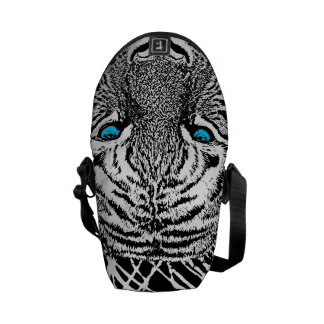 Black And White Blue Eyes Tiger Graphic Courier Bag