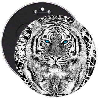 Black And White Blue Eyes Tiger Graphic Pinback Button