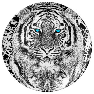 Black And White Blue Eyes Tiger Graphic Porcelain Plate