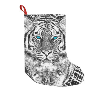 Black And White Blue Eyes Tiger Graphic Small Christmas Stocking