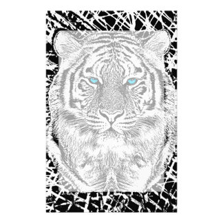 Black And White Blue Eyes Tiger Graphic Stationery Paper
