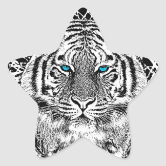 Black And White Blue Eyes Tiger Graphic Stickers