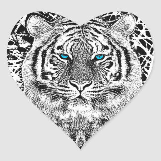 Black And White Blue Eyes Tiger Graphic Heart Sticker