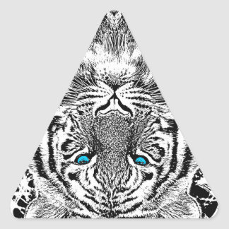 Black And White Blue Eyes Tiger Graphic Triangle Stickers