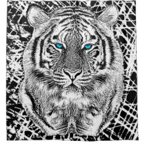 Black And White Blue Eyes Tiger Head Shower Curtain