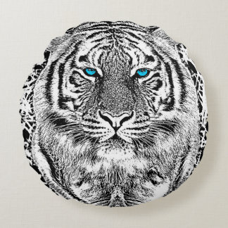 Black And White Blue Eyes Tiger stripes Round Pillow