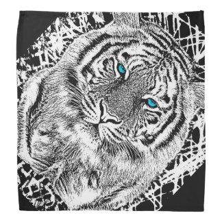 Black And White Blue Eyes wild Tiger face Bandana