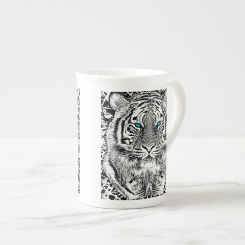 Black And White Blue Eyes wild Tiger face Bone China Mug