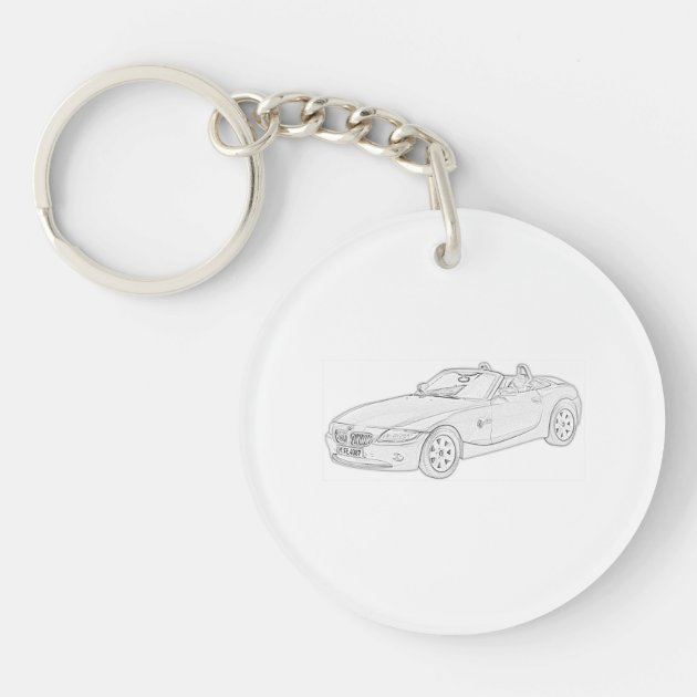 Black And White Bmw Z4 Pencil Drawing Acrylic Keychain