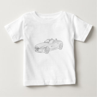 Black and White BMW-Z4 Pencil Style Drawing Baby T-Shirt