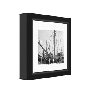 Black And White Boat Canvas