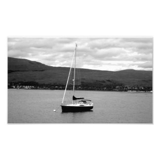 Black and White Boat Photograph