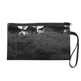 Black And White Boats In Water Wristlet Clutches