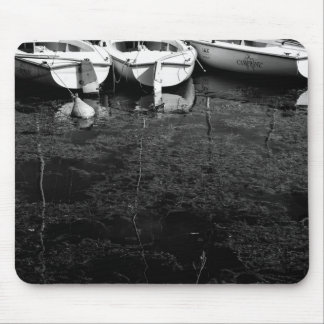 Black And White Boats In Water Mouse Pad