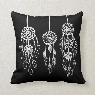 Black and White Bohemian Dreamcatchers Throw Pillow