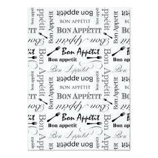 Black and White Bon Appetit Vintage French Bistro Card