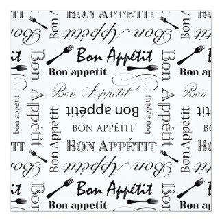Black and White Bon Appetit Vintage French Bistro Invitation