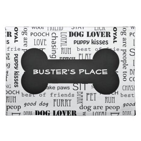 Black and White Bone Custom Name Dog   Pet Dinner Placemat