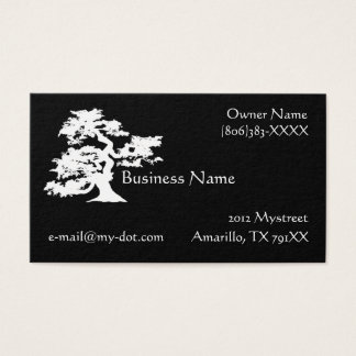 Black and White Bonsai Silhouette Business Card