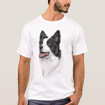 Black and white Border Collie head t-shirt