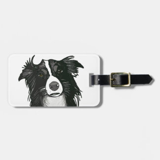 Black and White Border Collie Luggage tags