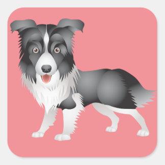 Black And White Border Collie Puppy Dog Pink Square Sticker
