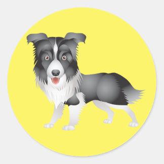 Black And White Border Collie Puppy Dog Yellow Classic Round Sticker