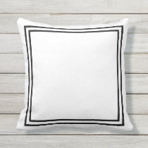 Black and White Border Framed Throw Pillow