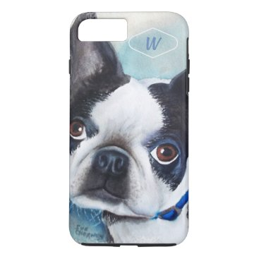 Beach Themed BLACK AND WHITE BOSTON TERRIER iPhone 8 PLUS/7 PLUS CASE