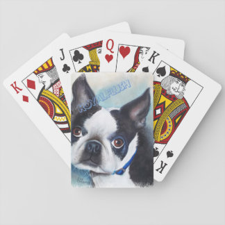 BLACK AND WHITE BOSTON TERRIER PLAYING CARDS