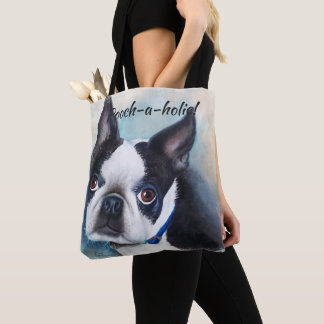 BLACK AND WHITE BOSTON TERRIER TOTE BAG