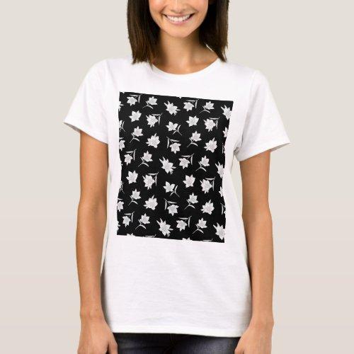 Black and white botanical floral T_Shirt