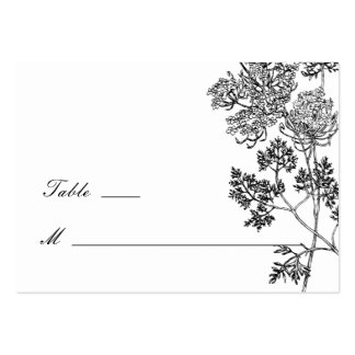 Black and White Botanical Illustration Place Cards Large Business Cards (Pack Of 100)