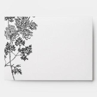 Black and White Botanical Illustration Wedding Envelope